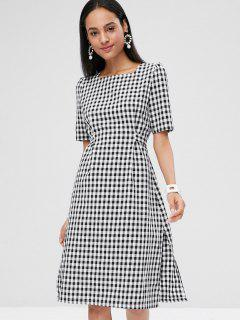 Checked Tie Knee Length Dress - White L