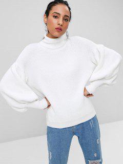 Laterne Ärmel Rollkragen Pullover - Weiß