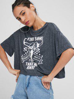 T-shirt Graphique Surdimensionné - Gris Carbone S