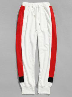 Side Letter Stripes Contrast Jogger Pants - White L