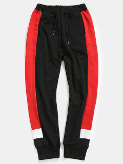 Side Letter Stripes Contrast Jogger Pants - Black Xl