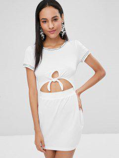 Knotted Cut Out Fitted Dress - White L