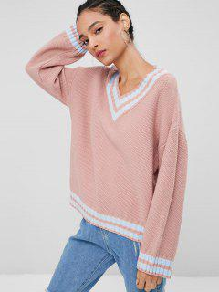Pull-over Lâche à Encolure En V - Rose