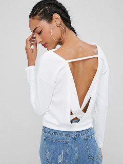 Cross Back Slash Neck Sweatshirt - White M