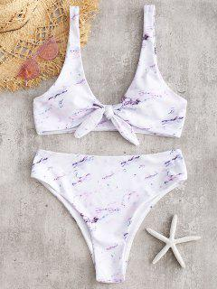Marmor Knoten Hohes Bein Bikini Set - Weiß S