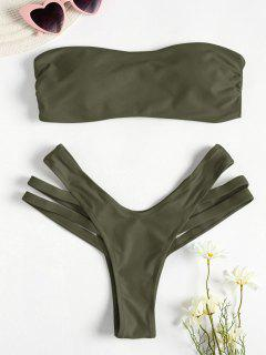 Cutout Bandeau Bikini Set - Army Green M