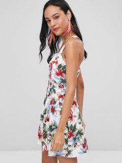Crisscross Floral Dress - White L