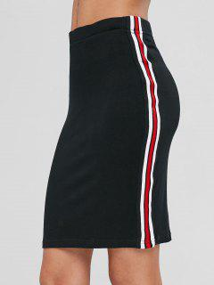 Striped Trim Fitted Mini Skirt - Black L