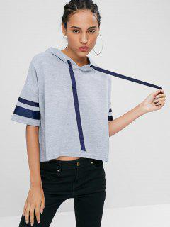 Striped Sleeve High Low Hoodie - Gray Cloud M