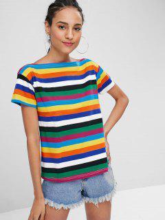 T-Shirt Rayé Couleur Arc-En-Ciel Avec Col Bateau  - Multi L