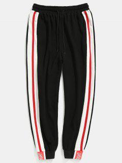 Kontrast Seitliche Streifen Taschen Jogger Hosen - Schwarz 2xl