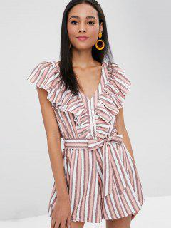 Ruffles Striped Belted Romper - Light Pink S