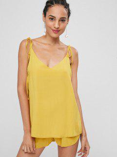 Knotted Oversized Cami Top And Shorts Set - Bright Yellow L