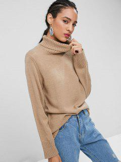 Plain Turtleneck Sweater - Tan L