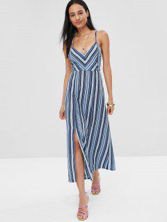Lace Up Stripes Midi Dress - Multi L