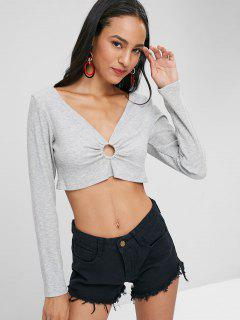 Knitted V Neck Crop Tee - Gray Goose M