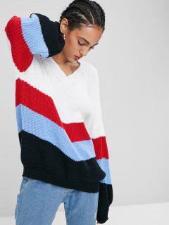 Lantern Ärmel Streifen Pullover - Multi