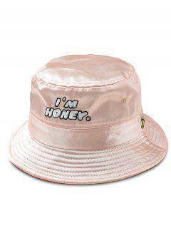 Fun Letter Embroidery Glossy Bucket Hat - Pink