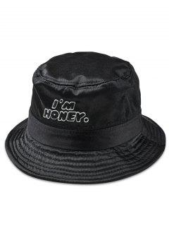 Fun Letter Embroidery Glossy Bucket Hat - Black
