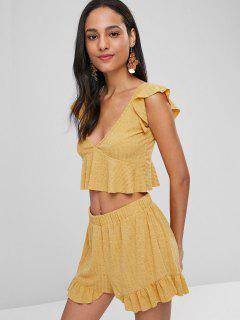Ruffle Peplum Top And Shorts Matching Set - Bee Yellow M