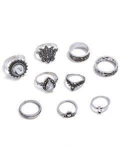 Conjunto De Anillos De Decoración De Flores De Diamantes De Imitación - Plata Serie De Anillos