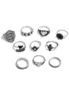 Artificial Gemstone Rings Set - Silver