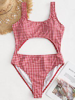 High Leg Gingham Cut Out Swimsuit - Chilli Pepper M