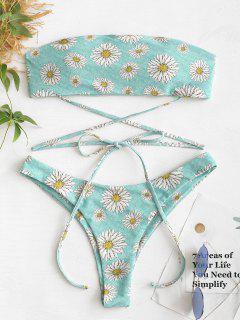 Daisy High Cut Bandeau Bikini Set - Blue Green S