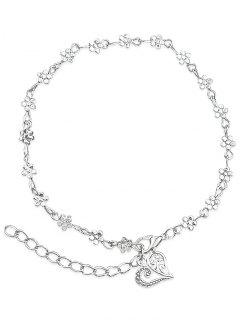 Minimalist Floral Bead Charm Anklet - Silver