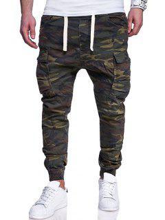 Camouflage Printing Multi-pocket Elastic Waist Jogger Pants - Camouflage Green M