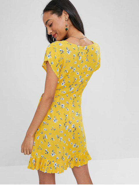 Vestido floral plisado con manga larga - Caucho Ducky Amarillo XL Mobile