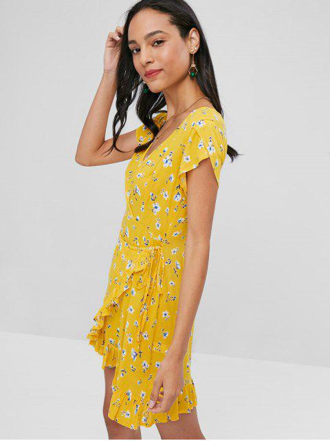 Vestido floral plisado con manga larga - Caucho Ducky Amarillo L Mobile
