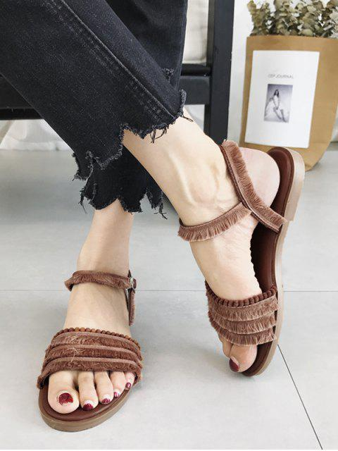 affordable Flat Heel Retro Beading Fringes Buckled Slingback Sandals - BROWN 36 Mobile