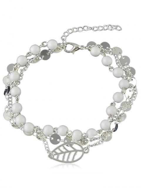 best Beaded Chain Anklet With Disc - SILVER  Mobile