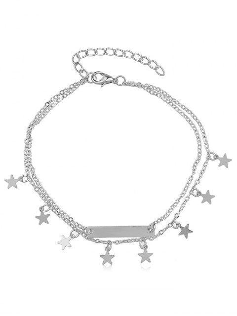 Geschichteter Stern Charm Fußkettchen - Silber  Mobile