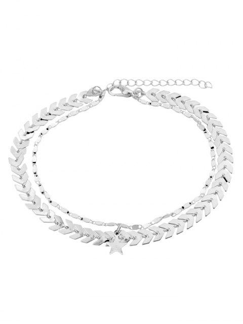outfit Double Layer Star Chain Anklet - SILVER  Mobile