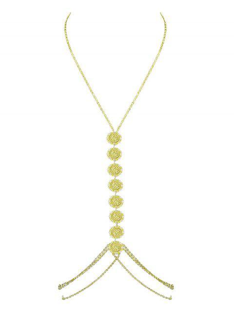 Cadena de cuerpo de flor multicapa - Oro  Mobile