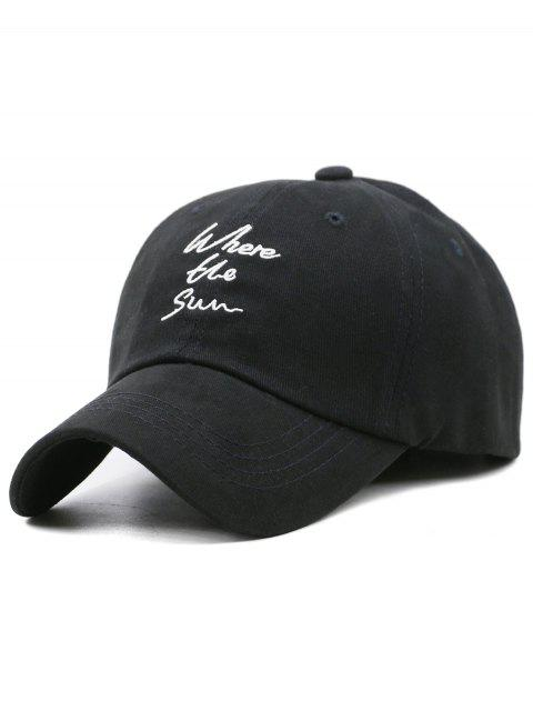 chic Fun Letter Embroidery Adjustable Hunting Hat - BLACK  Mobile