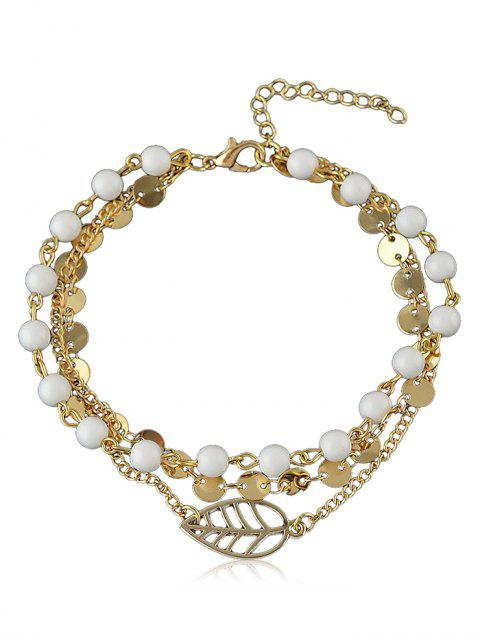 women Beaded Chain Anklet With Disc - GOLD  Mobile