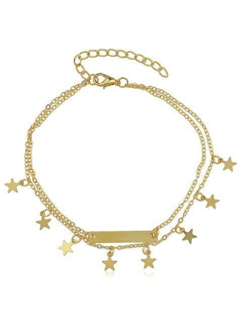 women's Layered Star Charm Anklet - GOLD  Mobile