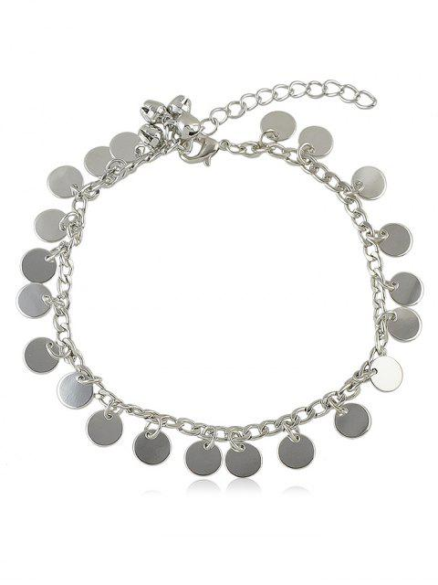 ladies Bell Sequin Chain Anklet - SILVER  Mobile