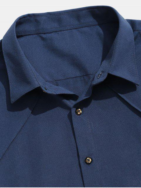 outfits Seam Detail Stripe Patched Shirt - CADETBLUE XL Mobile
