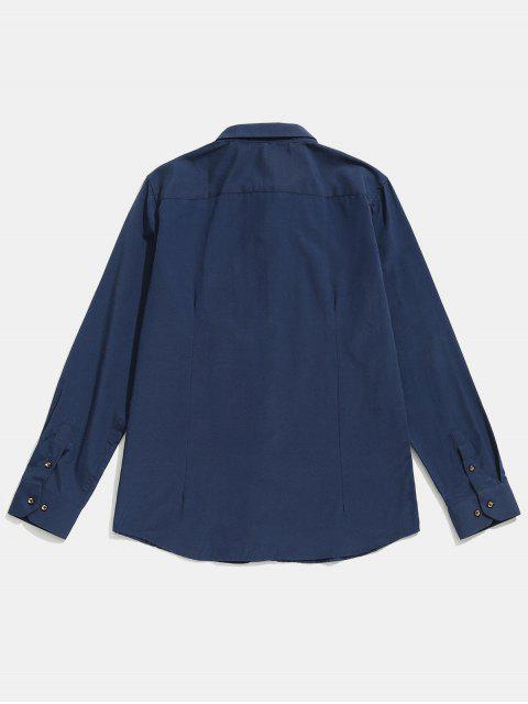 Camisa remendada a rayas con detalle de costuras - Cadetblue L Mobile