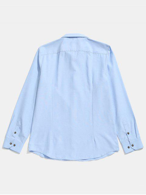 womens Seam Detail Stripe Patched Shirt - LIGHT SKY BLUE M Mobile