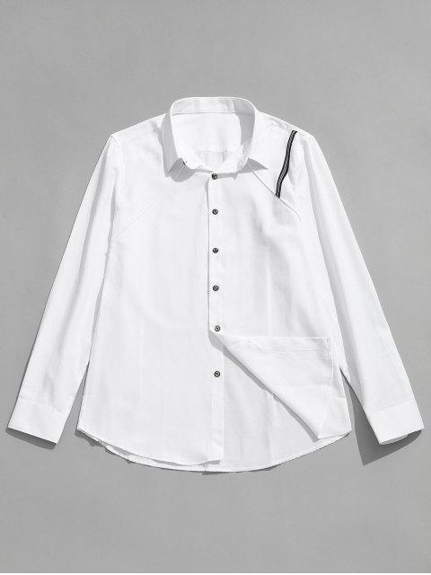 women's Seam Detail Stripe Patched Shirt - WHITE XL Mobile
