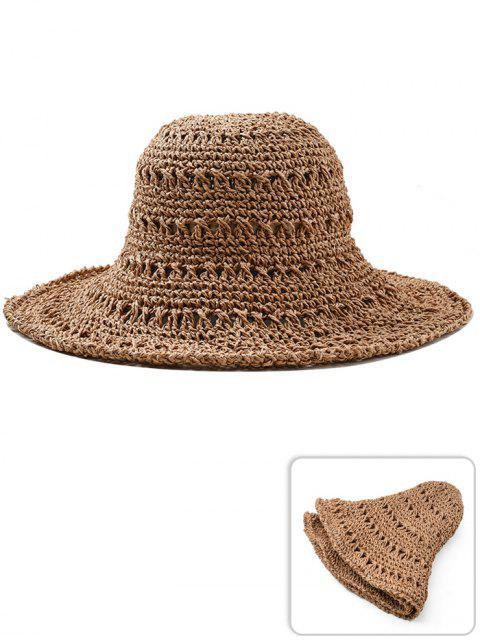 Chapeau de Soleil en Paille Pliable Style Ajouré - Verge d'Or Foncé   Mobile