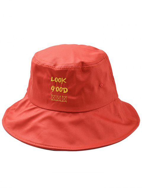 Fun Letter Embroidery Bucket Hat - Naranja  Mobile
