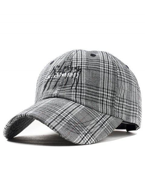 Sombrero gráfico de tela escocesa del bordado de la letra - Negro  Mobile