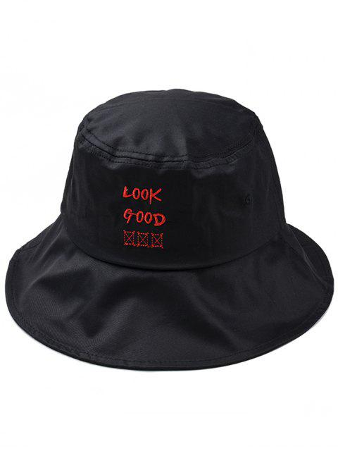 women Fun Letter Embroidery Bucket Hat - BLACK  Mobile