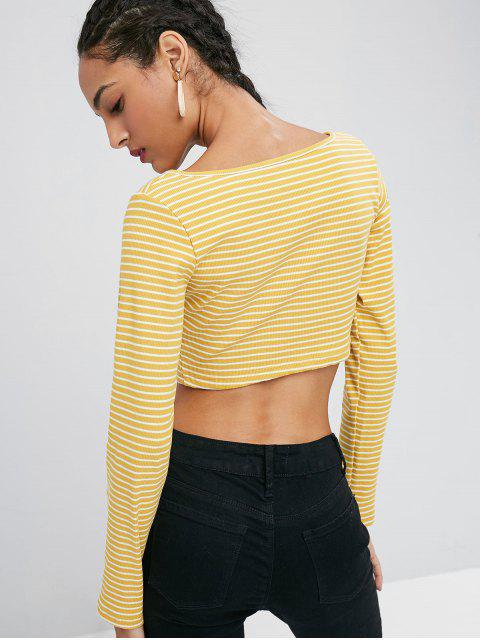 fancy Long Sleeve Ribbed Button Front Cropped T-Shirt - GOLDEN BROWN L Mobile